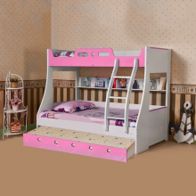 BUNK BED WITH TRUNDLE BED (90*190CM) PINK