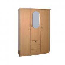 3 Door Wardrobe With Mirror - Beech