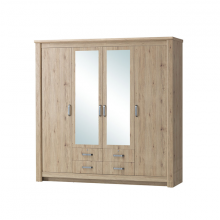 4 Door Wardrobe With 2 Mirror- Summer Oak