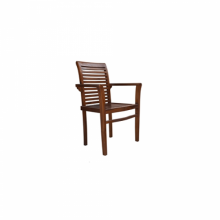 STACKING CHAIR WITH ARM TEAK WOODEN