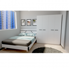 Bedroom Set with Queen Size Bed - White (BS550A)